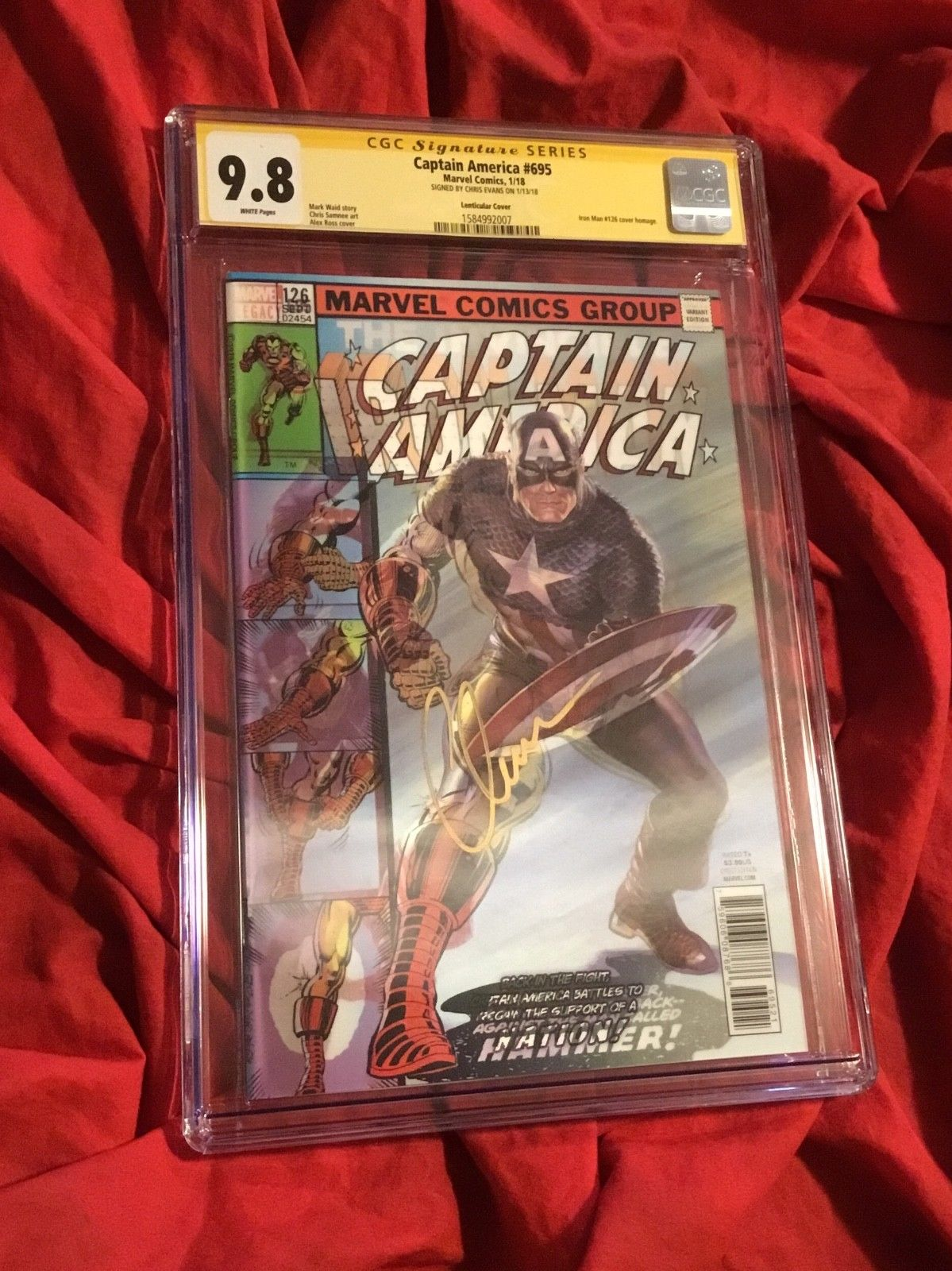 CGC SS 9.8 CAPTAIN AMERICA #695 LENTICULAR 3D SIGNED BY CHRIS EVANS IRON MAN 126