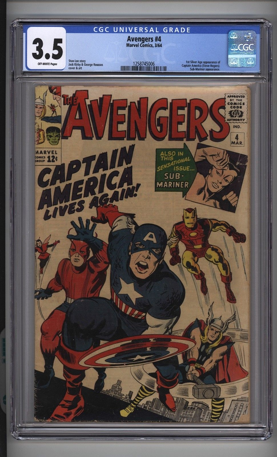 AVENGERS #4 CGC 3.5 Off White Pages Kirby Art 1st Silver Age Captain America