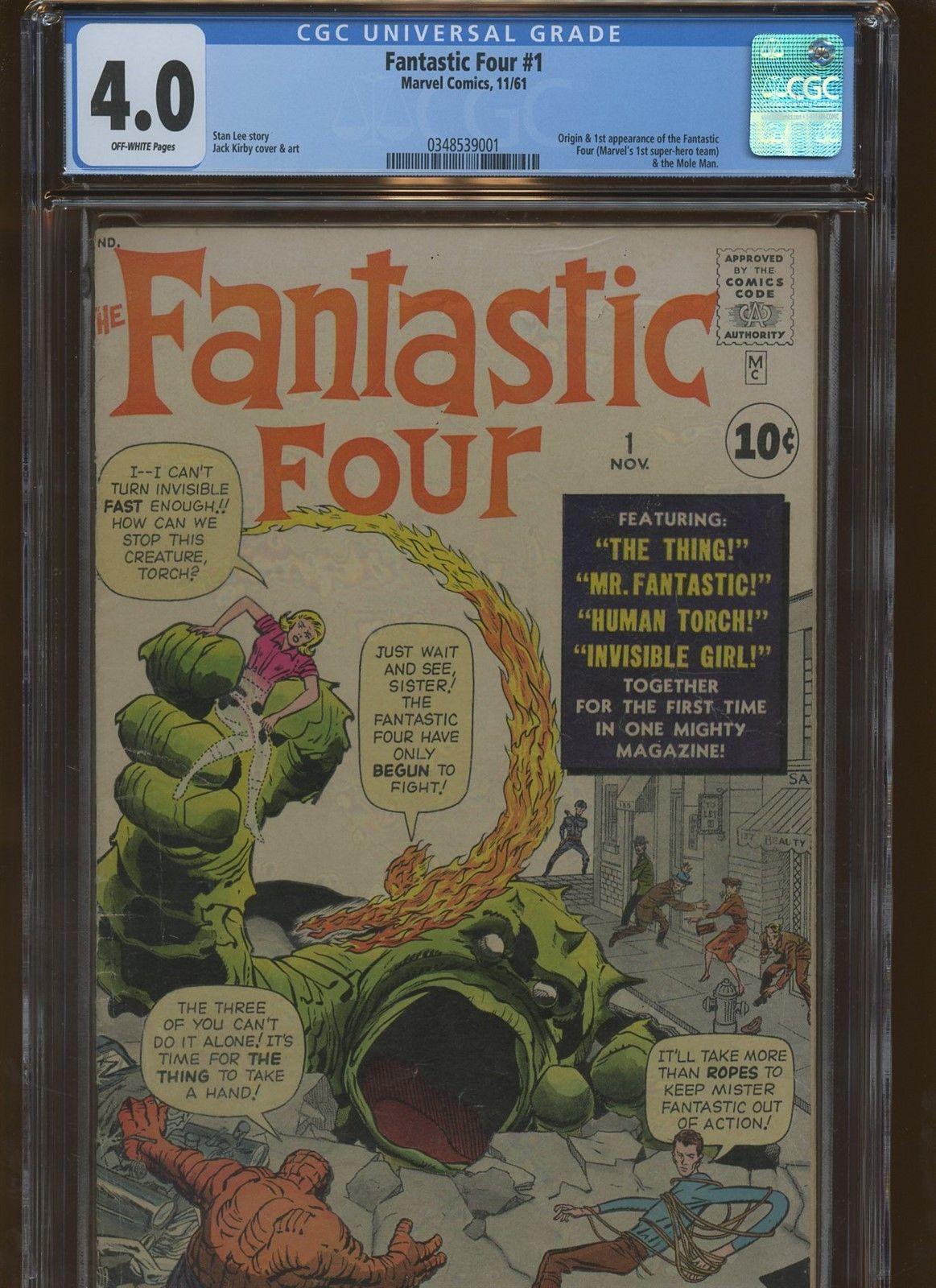 Fantastic Four 1 CGC 4.0   Marvel 1961   Origin & 1st Fantastic Four & Mole Man