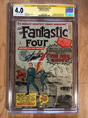 FANTASTIC FOUR #13 CGC 4.0 STAN LEE SS 1ST APP WATCHER RED GHOST 1 SIGNED