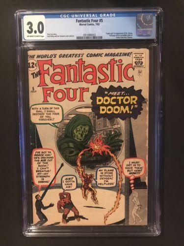 FANTASTIC FOUR 5  (7/1962) CGC 3.0 Universal 1st Dr. Doom  Unpressed  (1 2 3 4)