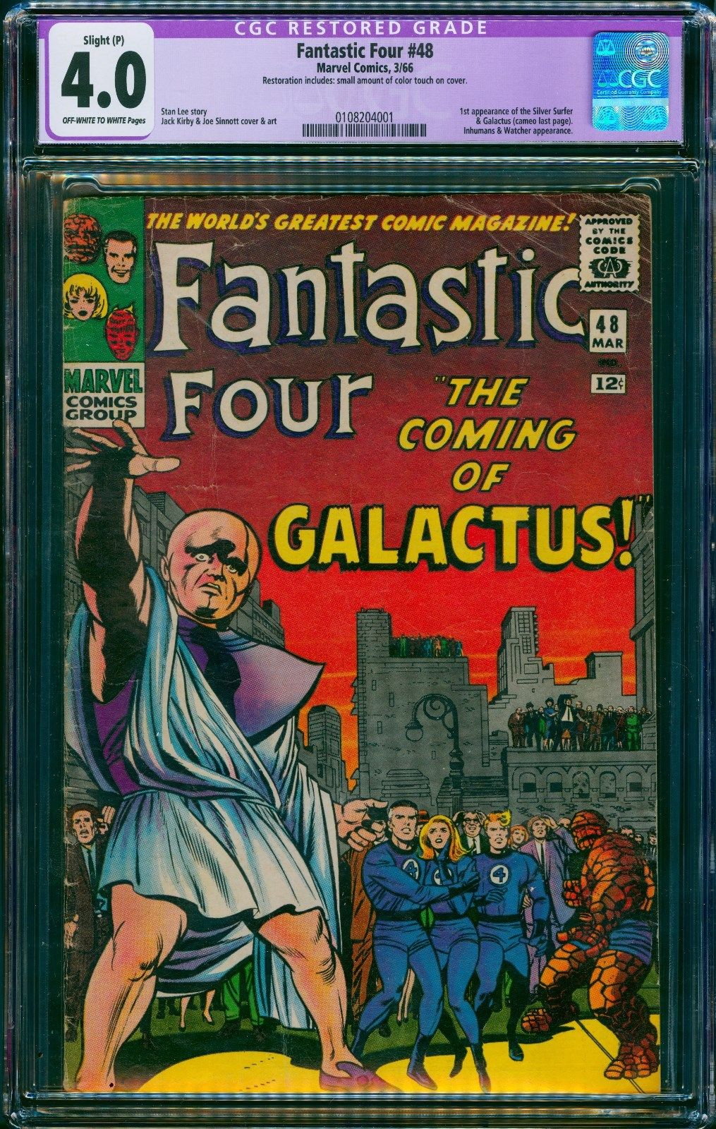 Fantastic Four #48  CGC 4.0 VG First App. Silver Surfer and Galactus Marvel 3/66