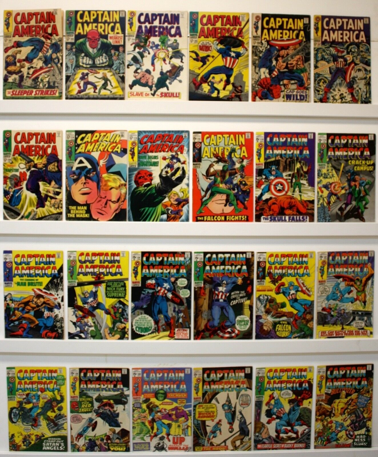 Captain America Lot of 24 comics  VG or better #102-108, 114-5, 118-121, 123-133