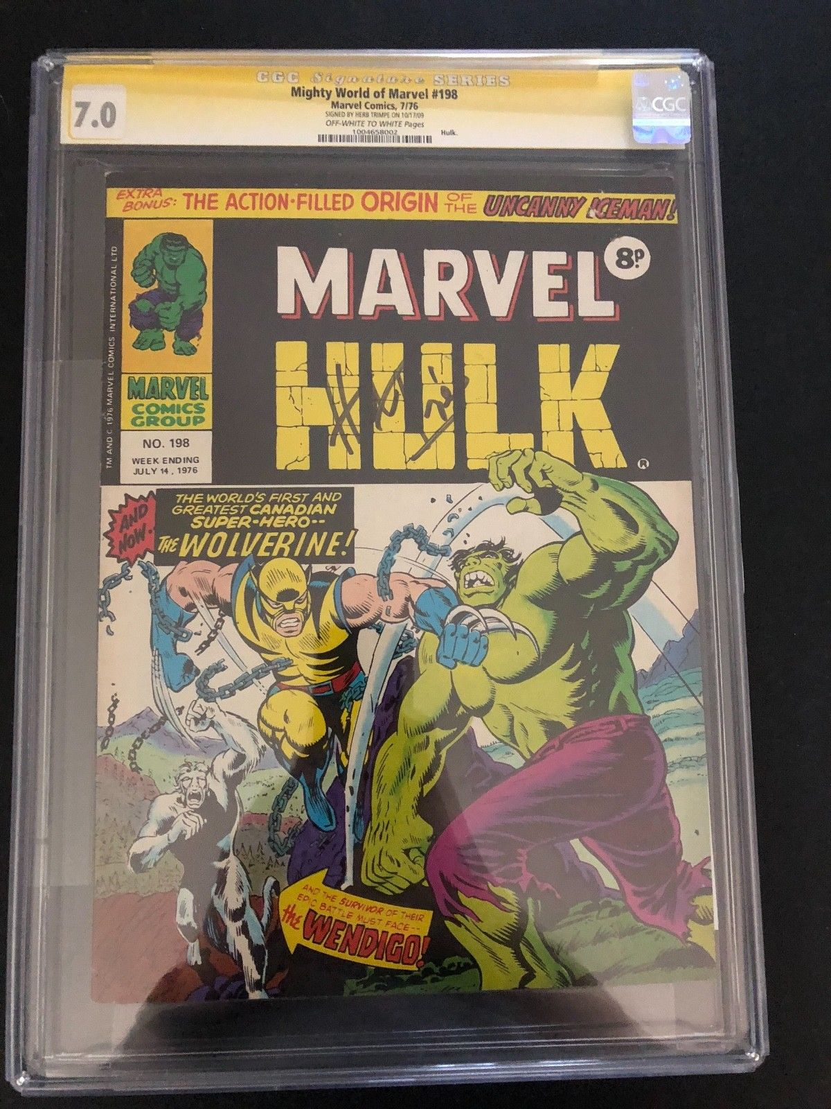 Hulk 181 Mighty World of Marvel 198 CGC 7.0 1st app wolverine trimpe signed KEY