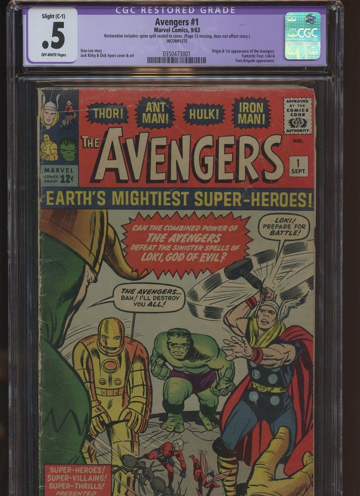 Avengers 1 CGC Restored 0.5 | Marvel 1963 | Origin & 1st Avengers