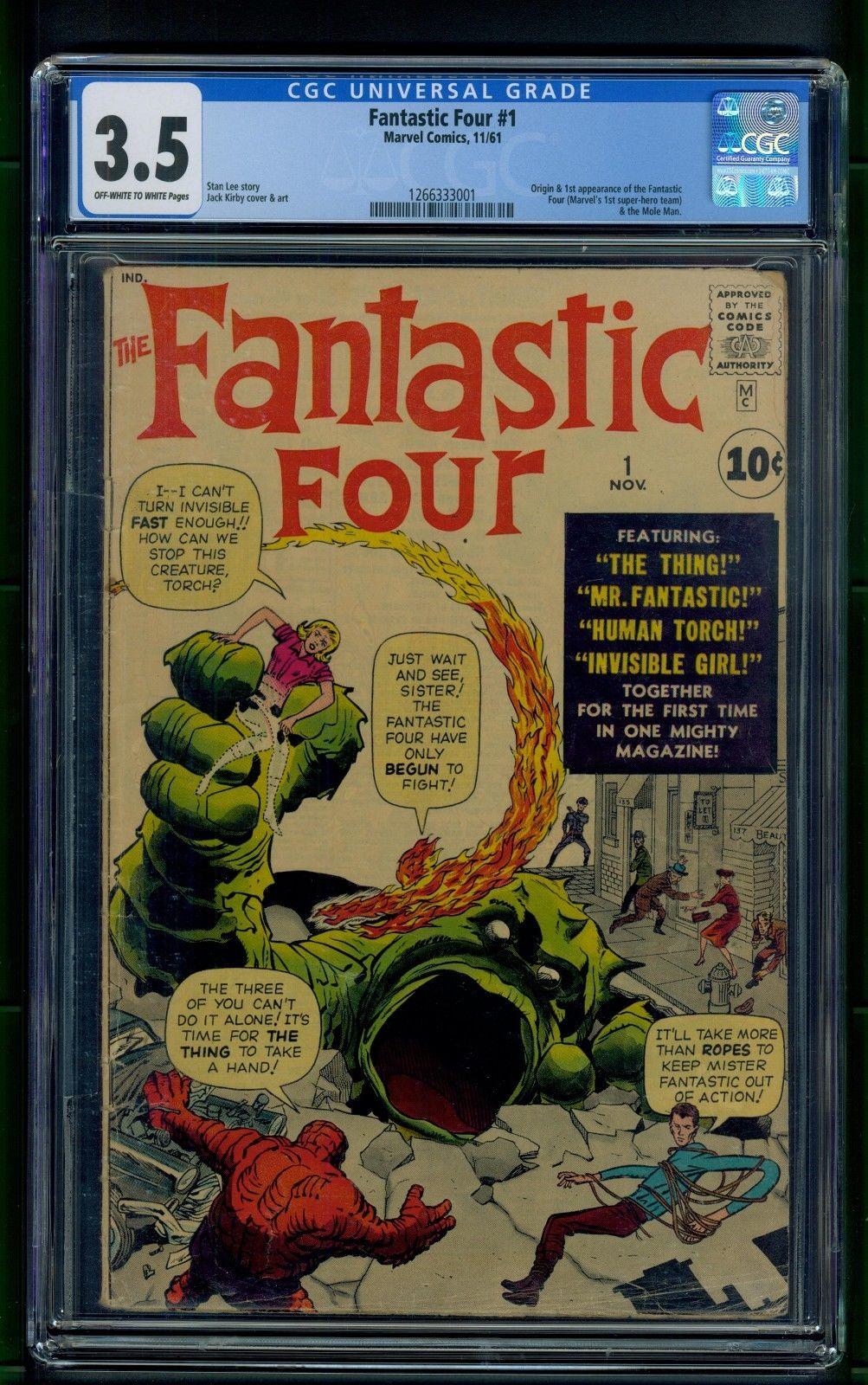 Fantastic Four #1 (1961) CGC Graded 3.5   Origin & 1st Appearance Fantastic Four