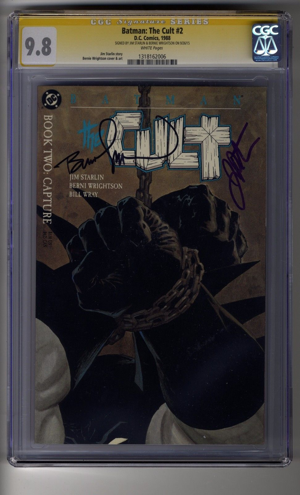 Batman: The Cult # 2 - CGC 9.8 WHITE Pages - SS2X Bernie Wrightson & Jim Starlin
