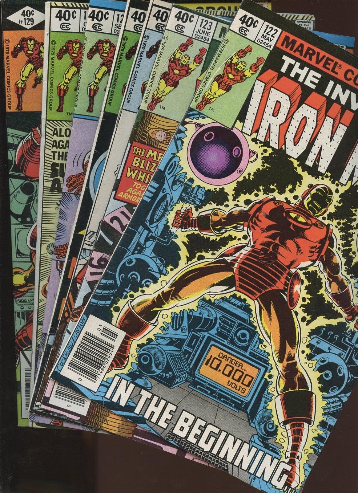 Iron Man 122,123,124,125,126,127,129   7 Book Lot * Bob Layton Romita JR