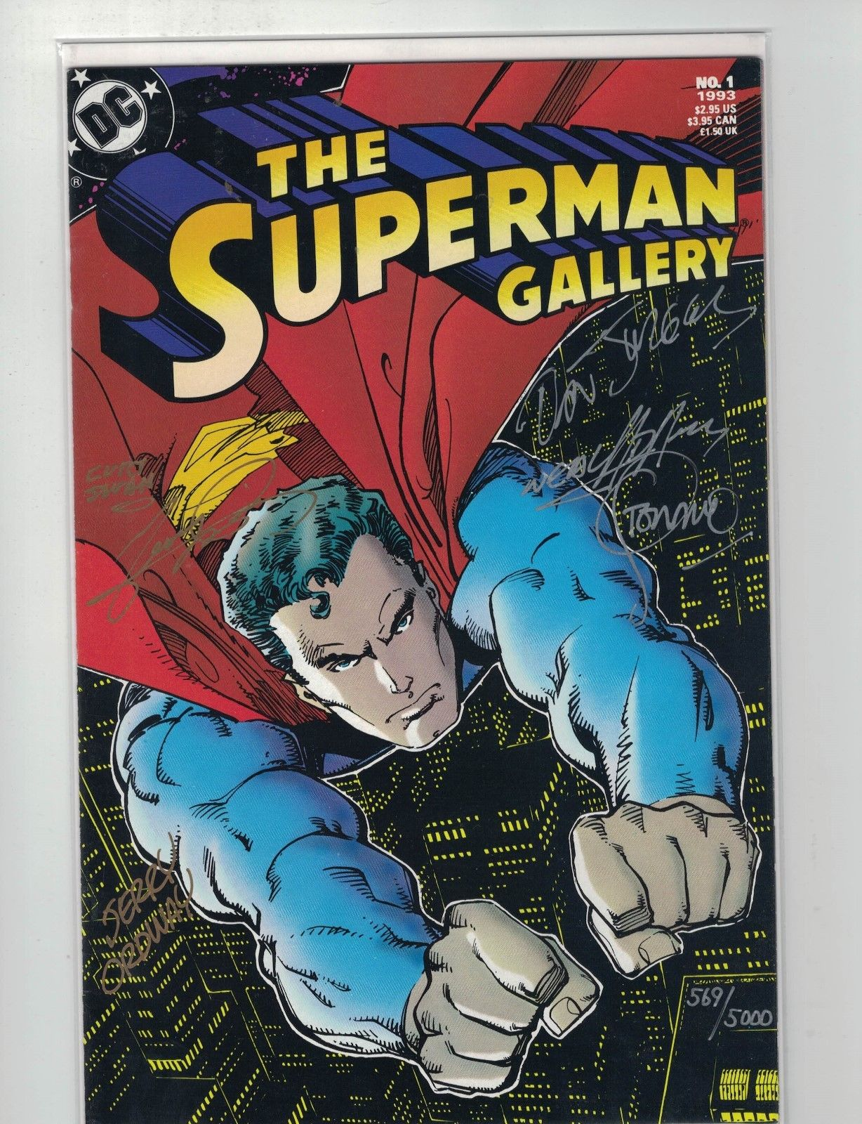 SUPERMAN GALLERY #1-6X SIGNED+COA-NEAL ADAMS,CURT SWAN, GEORGE PEREZ+-1993-VF/NM