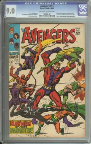 AVENGERS #55 CGC 9.0 OW/WH PAGES