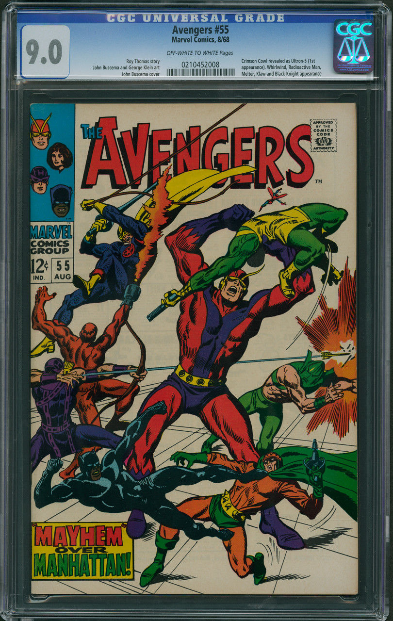 Avengers #55 CGC 9.0 - Off-White to White Pages (1st Appearance of ULTRON-5)