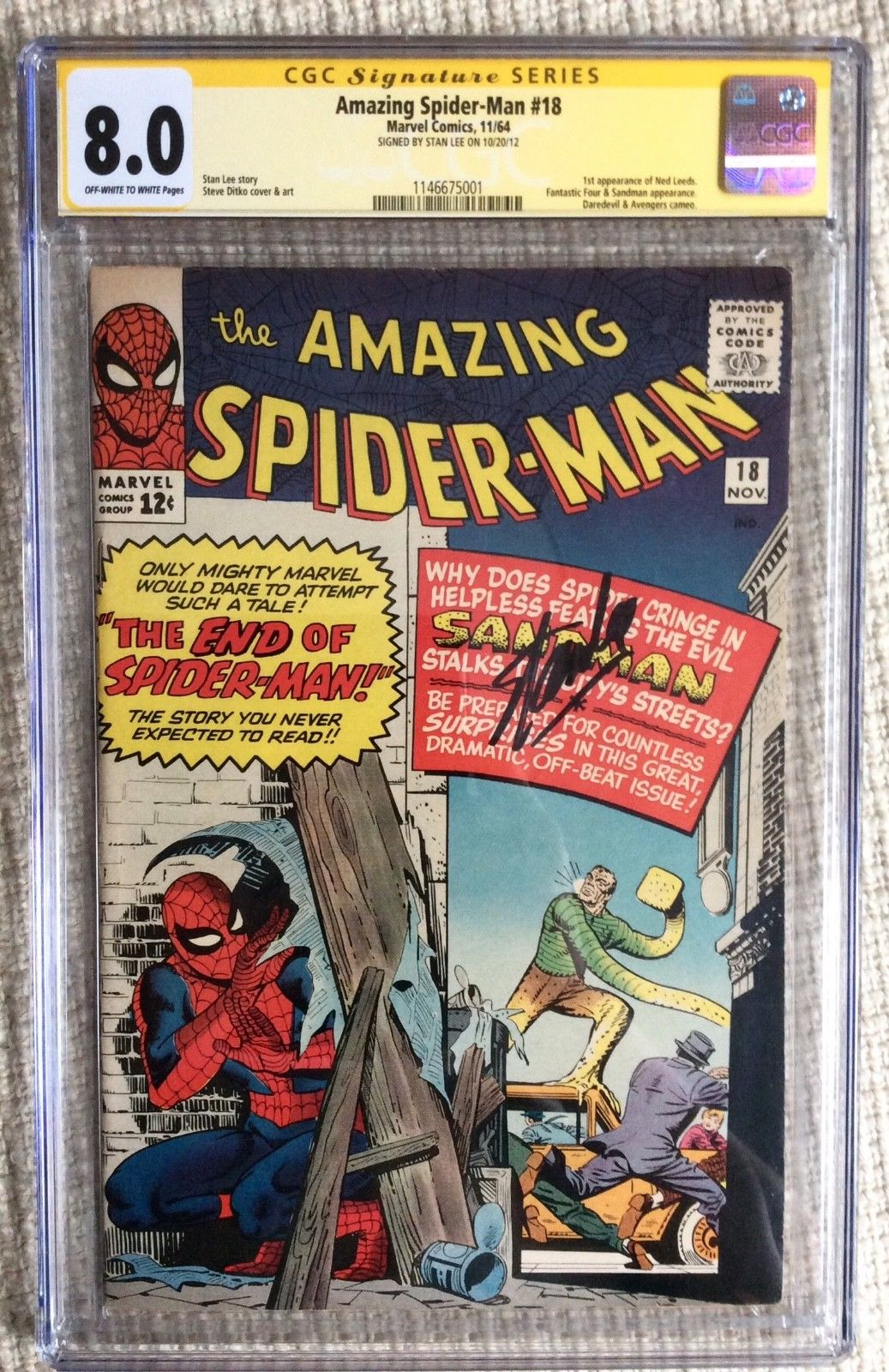 AMAZING SPIDER-MAN # 18 cgc 8.0 1 st Ned Stan Lee Sig Avengers Key 2,3,5,14, 15