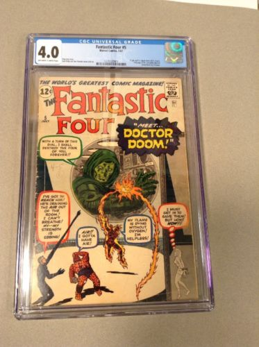 Fantastic Four #5 CGC 4.0 Origin & 1st Dr. Doom,Full page AD for Hulk#1,Kirby