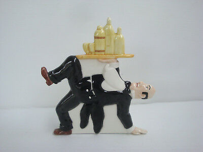 Rare Statuette Tintin La Chaise Longue en porcelaine polychrome : Nestor plateau