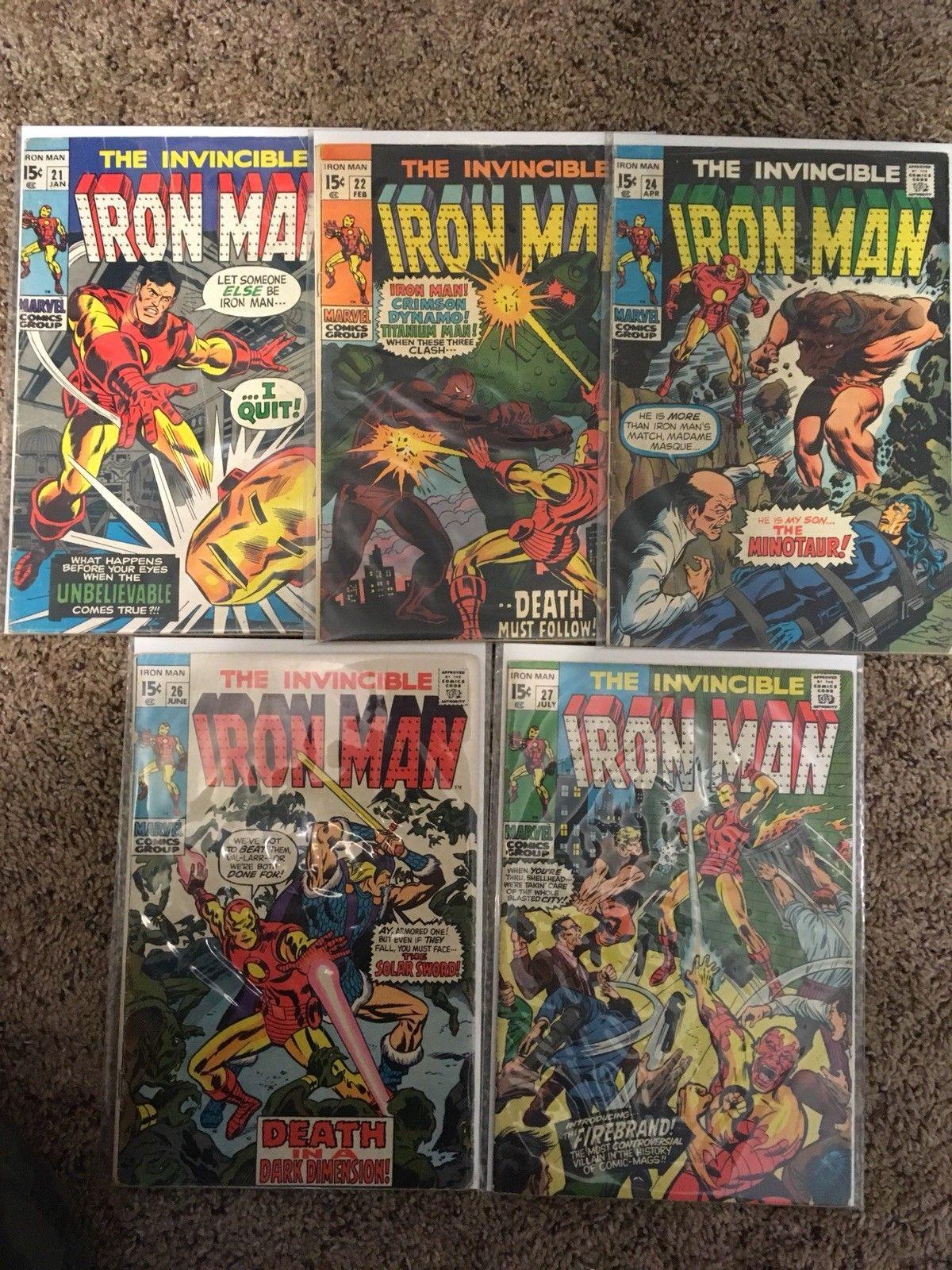 The Invincible Iron Man (1968) #'s 21,22,24,26,27 Five Comic Book Lot