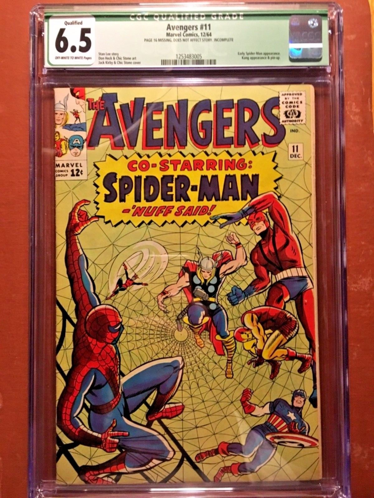 Avengers 11 CGC 6.5 Q PAGE 16 MISSING KIRBY NICE EARLY MARVEL