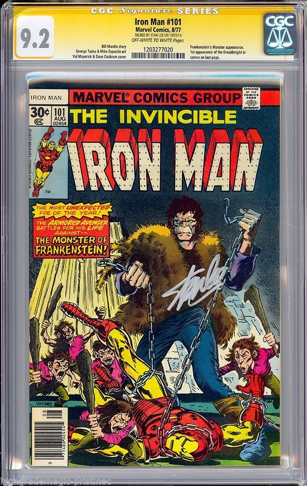 IRON MAN #101 CGC 9.2 OWW STAN LEE SS 1ST APP DREADLIGHT CGC #1203277020