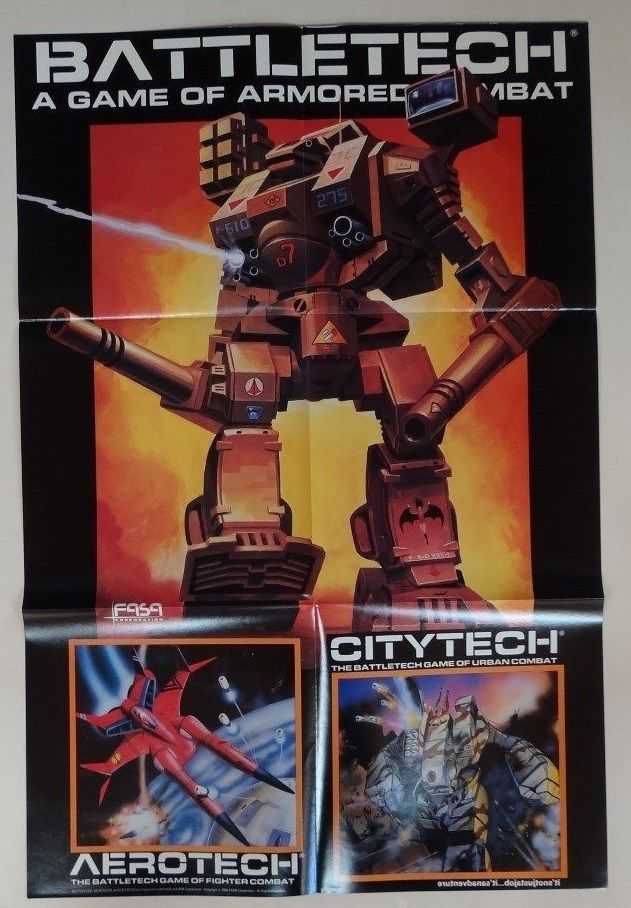 Unused - Battletech A Game of Armored Combat Video Games Comic Book Poster 1986