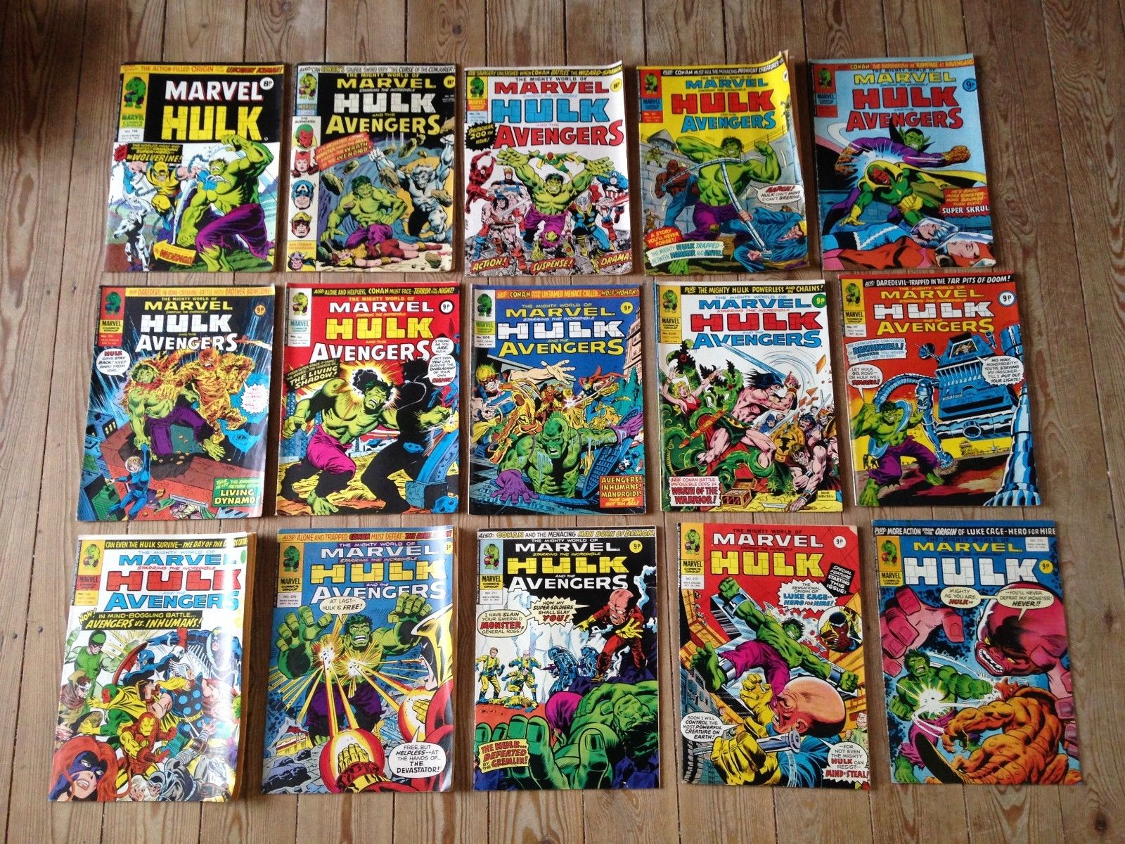 133 X MIGHTY WORLD OF MARVEL / THE INCREDIBLE HULK COMICS THE AVENGERS 198 - 338