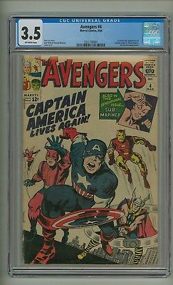 Avengers #4 (CGC 3.5) O/W pages; 1st S.A. app. Captain America; Kirby (c#19677)