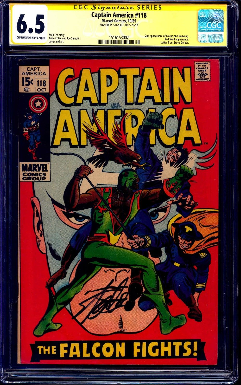 Captain America #118 CGC SS 6.5 OW/W signed Stan Lee 2nd Falcon 1969 KEY ISSUE