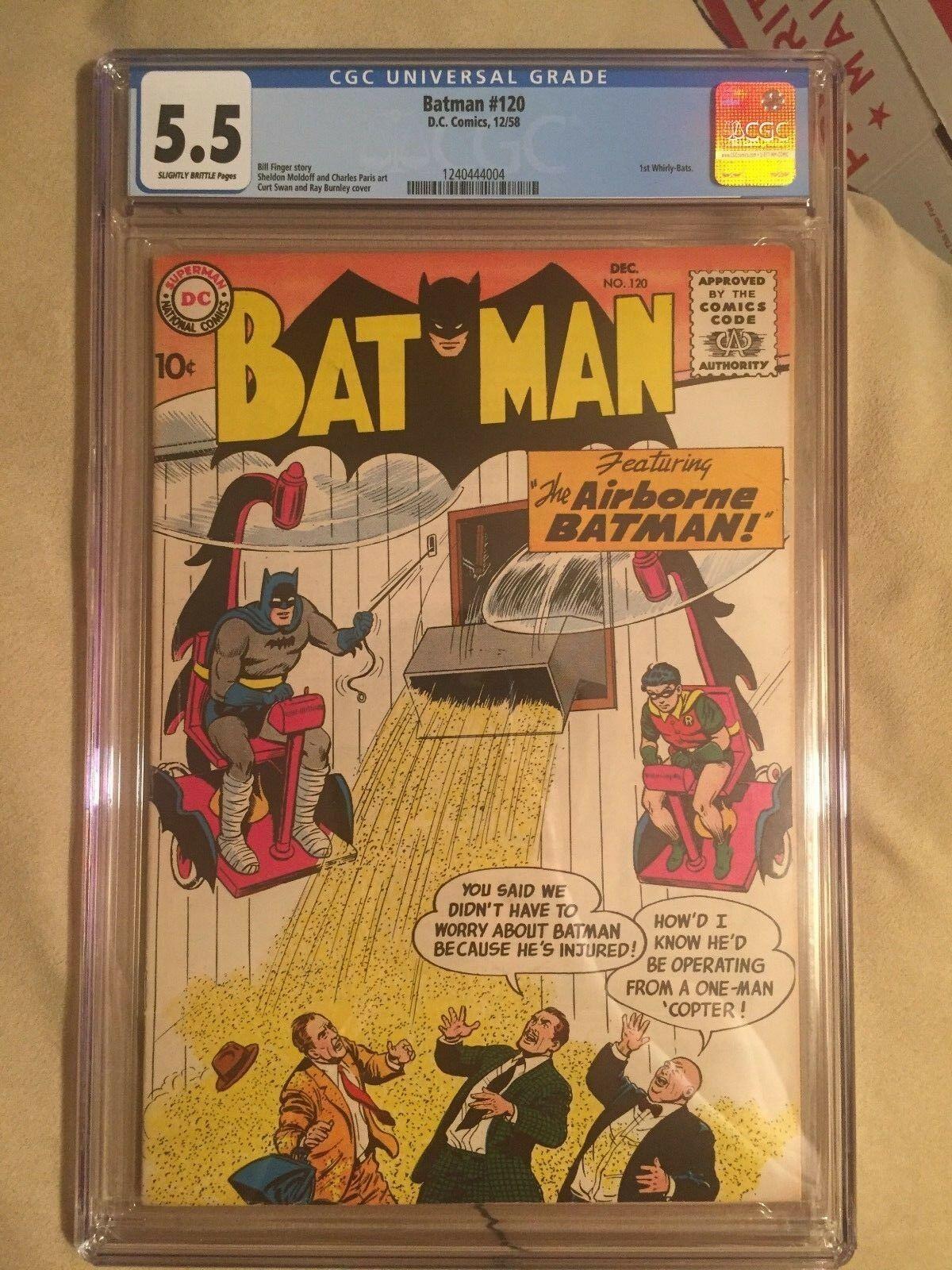 Batman #120 DC Comics 1958 1st Whirly-Bats CGC Graded 5.5