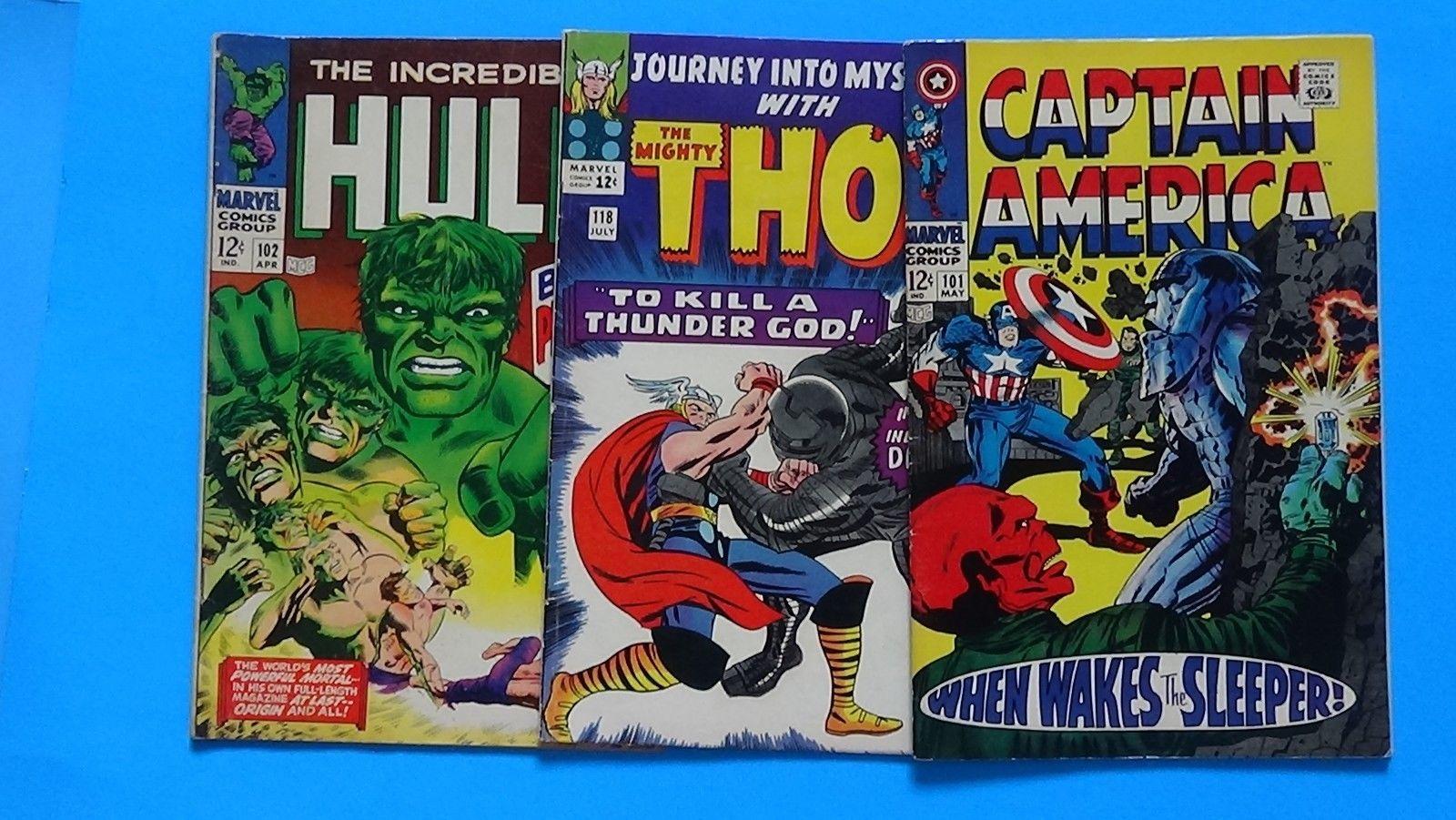 Silver Age, 3 comic lot, CAPTAIN AMERICA 101, HULK 102, JOURNEY into MYSTERY 118