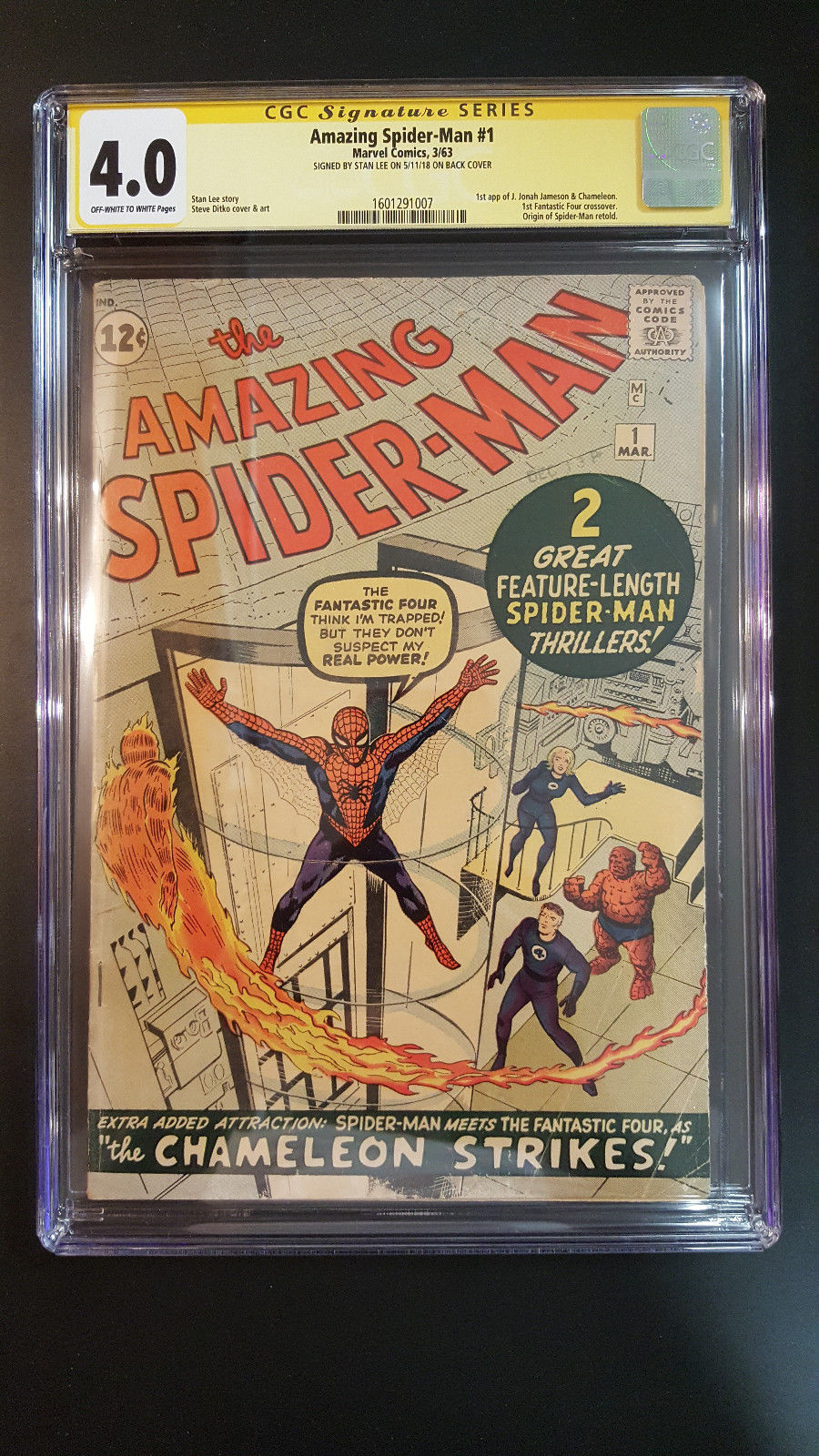 THE AMAZING SPIDERMAN # 1 CGC 4.0 SS STAN LEE 1ST FANTASTIC FOUR ASM