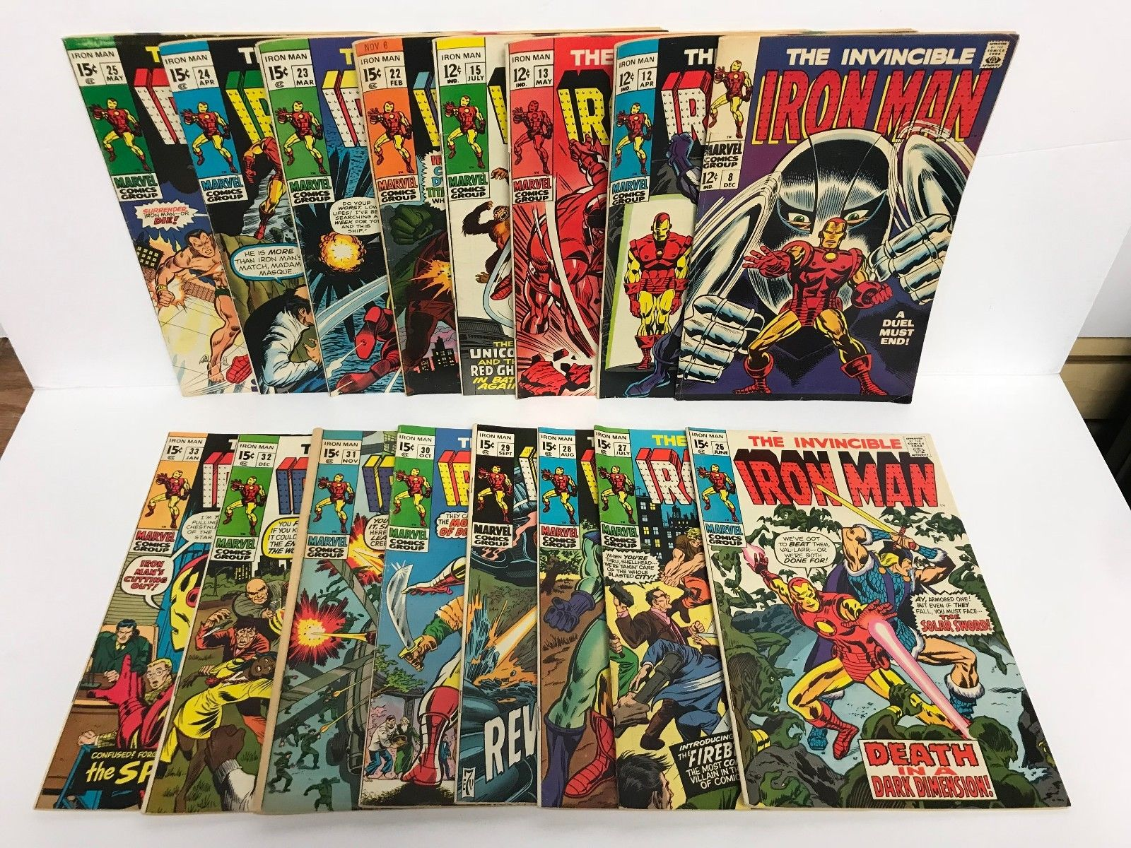 Lot of 16   1968-1971 Marvel The Invincible IRON MAN comics 8 12 13 15 22 to 33