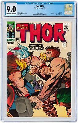 Thor #126 CGC 9.0 1966 1st Issue Avengers Iron Man Thor Hulk H7 121 cm clean