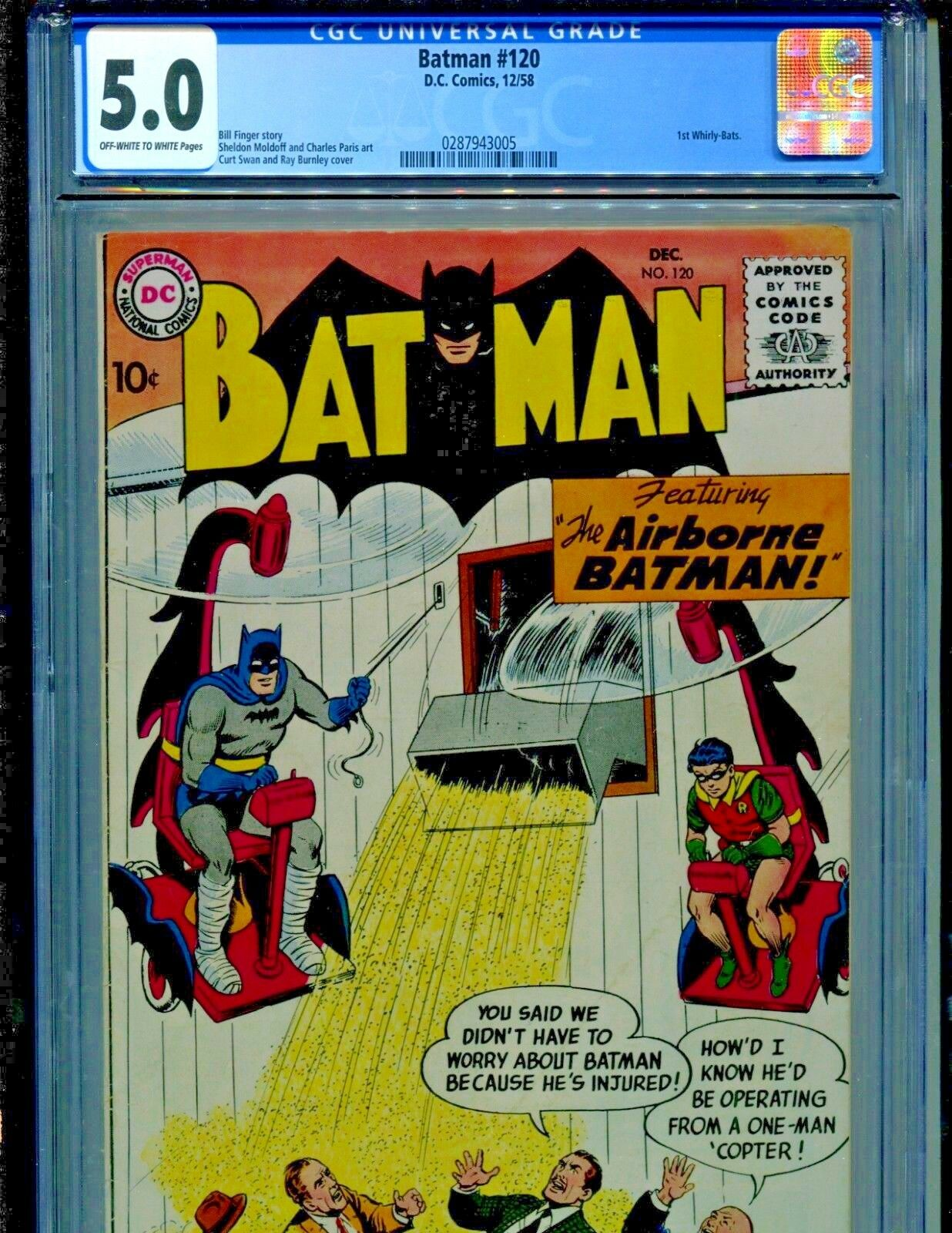 Batman #120 DC Comics 1958 1st Whirly-Bats CGC Graded 5.0