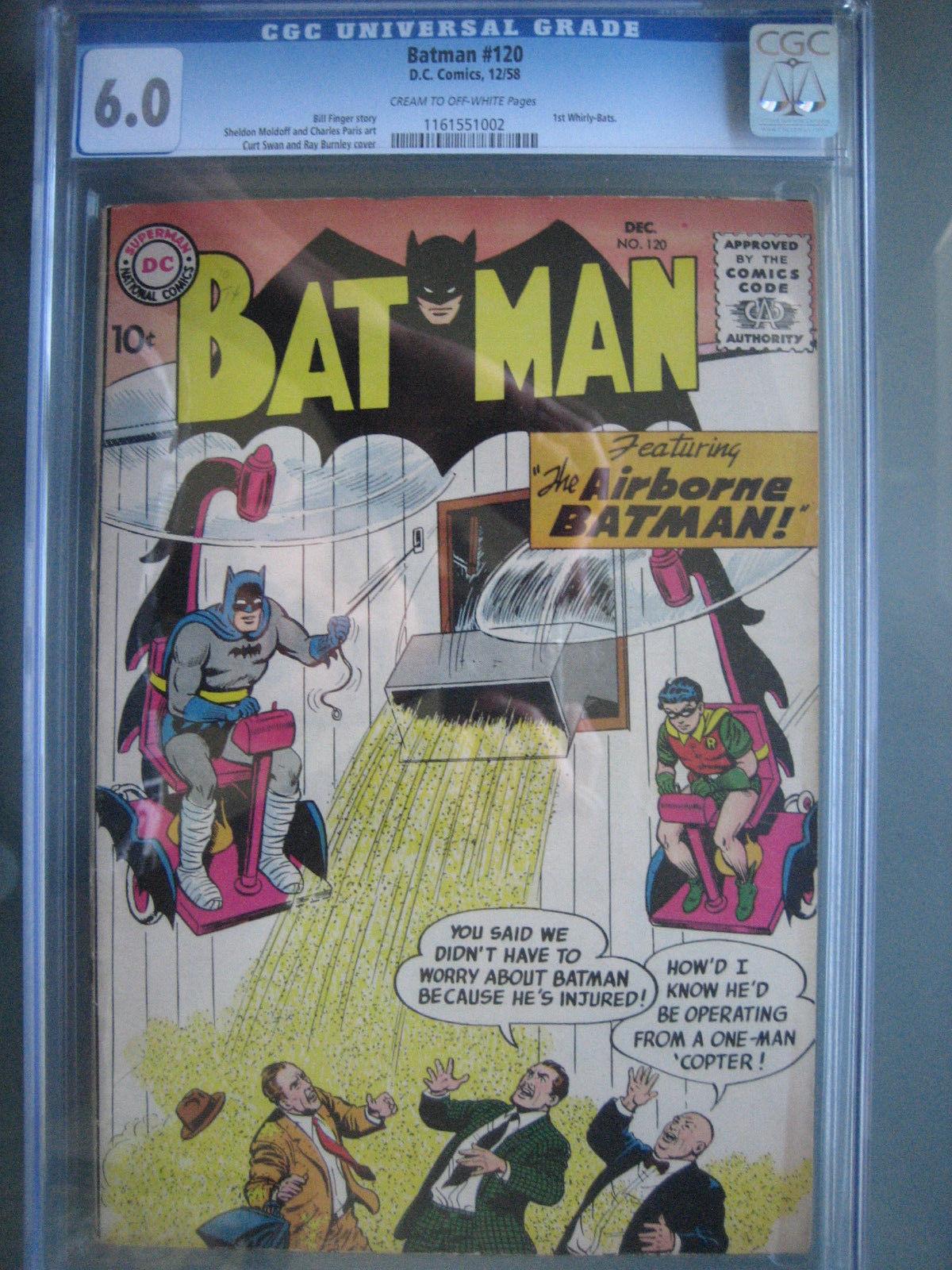 Batman #120 CGC 6.0 Bill Finger Story - 1st Whirly-Bats - December 1958, DC