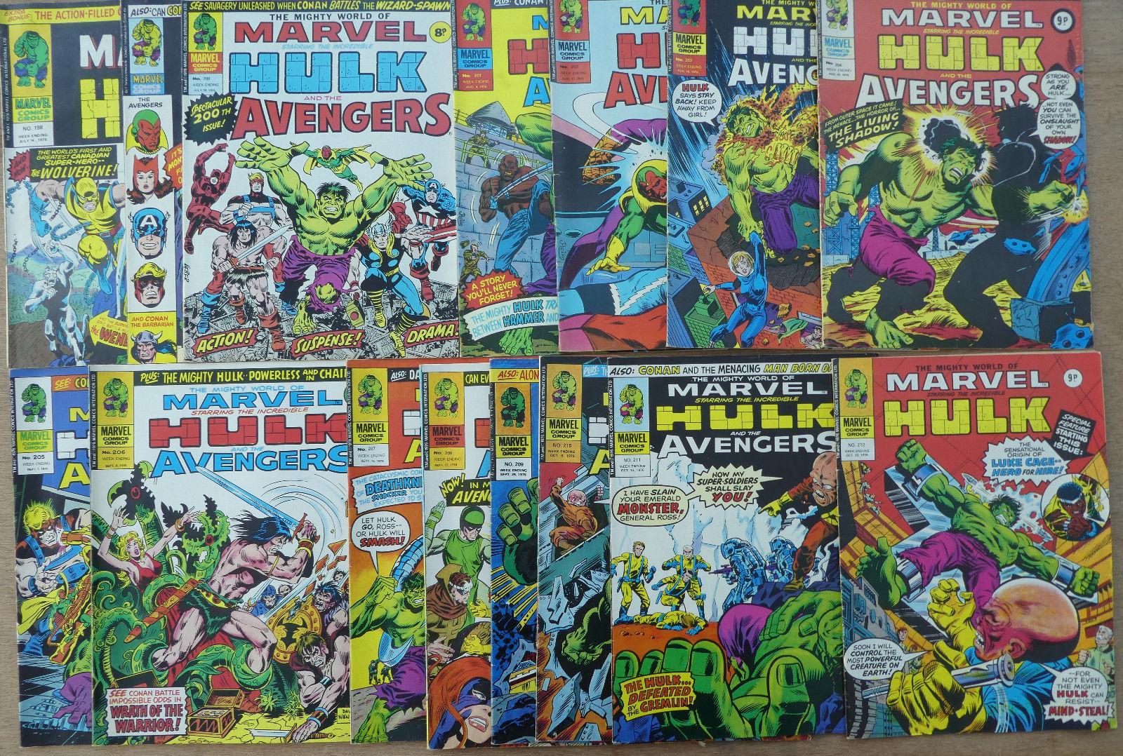 THE  HULK (THE MIGHTY WORLD OF MARVEL #198-212), FINE, 1976, 15 comics, UK wkly