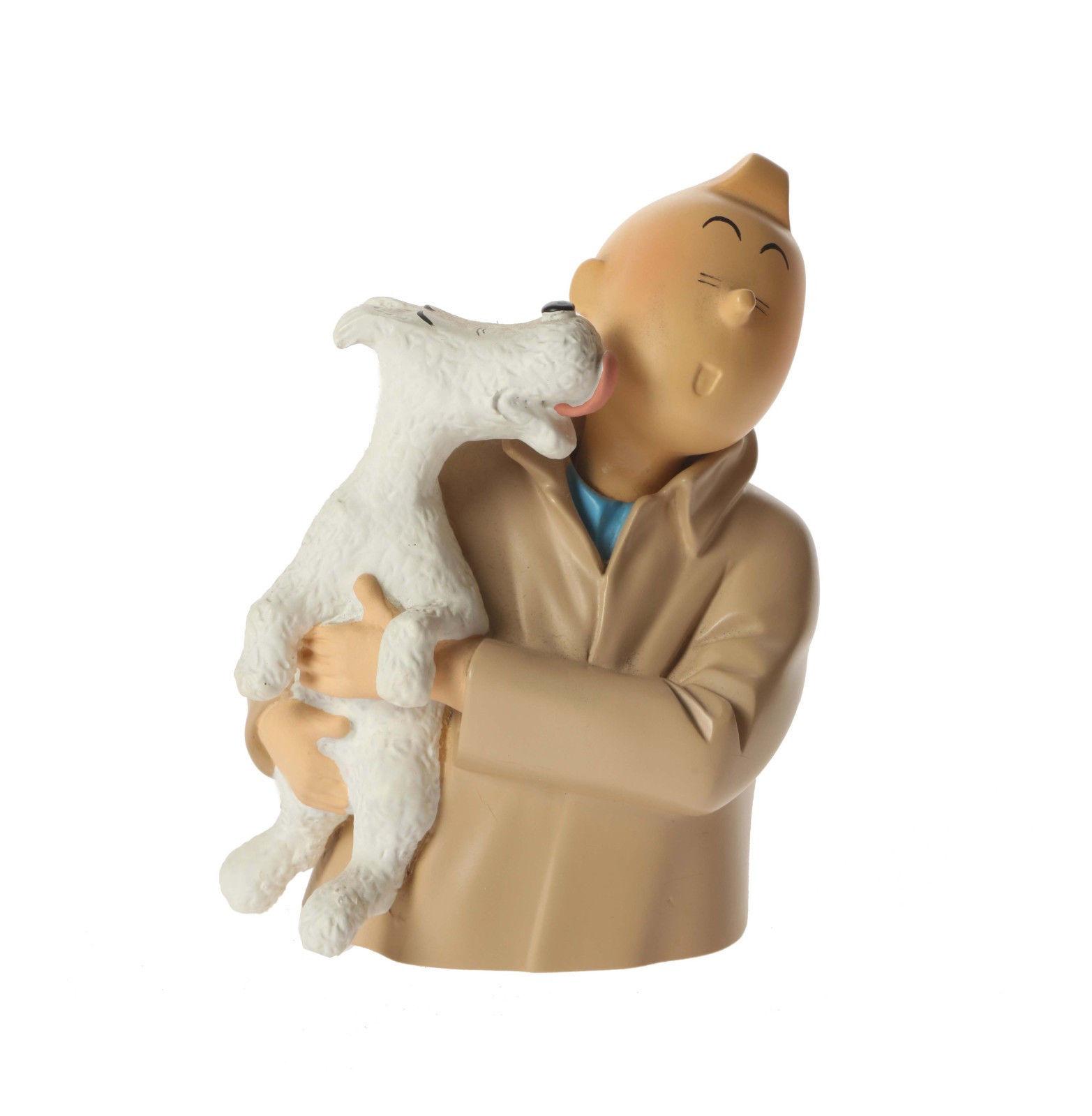 Leblon Delienne Tintin buste - Tintin léché par Milou V.1 No Pixi Aroutcheff