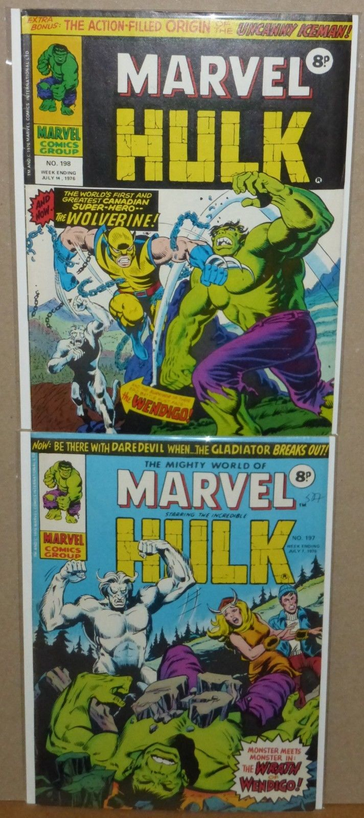 Mighty World of Marvel 197 & 198, UK Hulk 180 & 181 First Wolverine Set