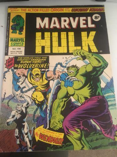 MIGHTY WORLD OF MARVEL UK - HULK #198 (JULY 1976) 1ST APP OF WOLVERINE #181 RARE
