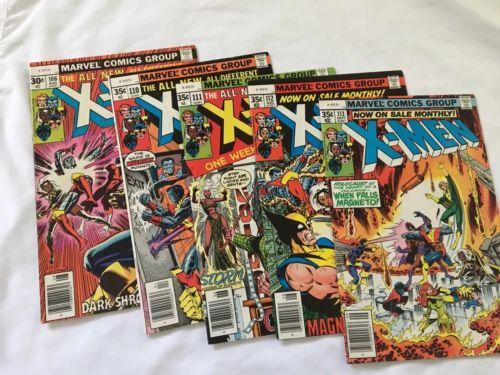 Lot of 5 Uncanny X-men Higher Grade #106, 110, 111, 112, 113