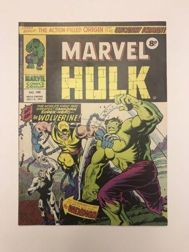Mighty World of Marvel 198, UK Hulk 181 1st Wolverine