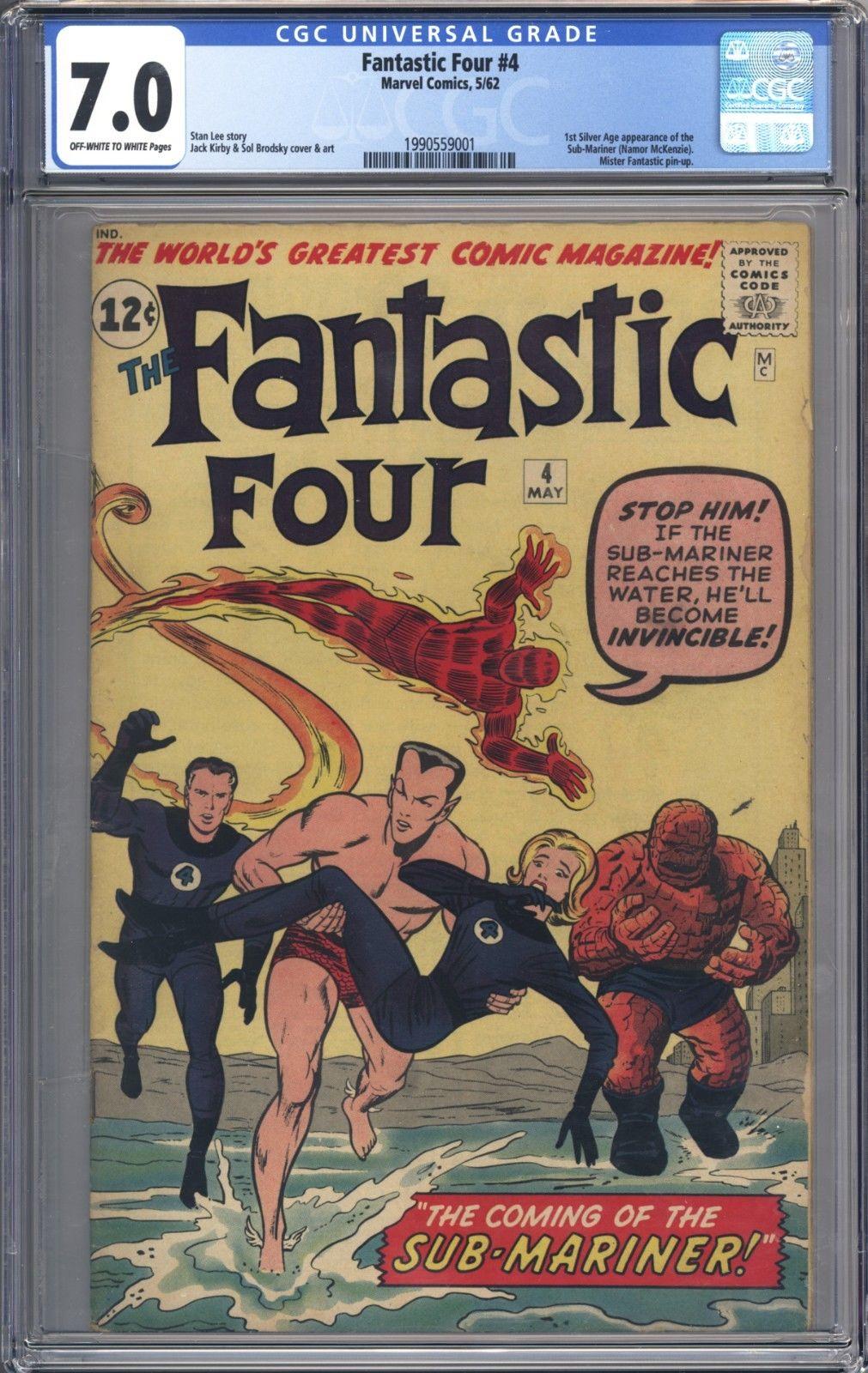 Fantastic Four #4 Vol 1 CGC 7.0 Beautiful Higher Grade 1st SA App of Sub-Mariner
