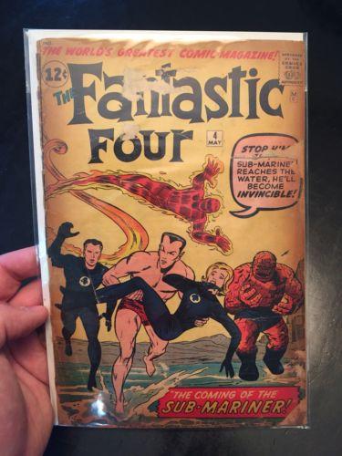 FANTASTIC FOUR # 4 1962 Marvel 1ST SILVER AGE SUB-MARINER JACK KIRBY  FAIR 1.0