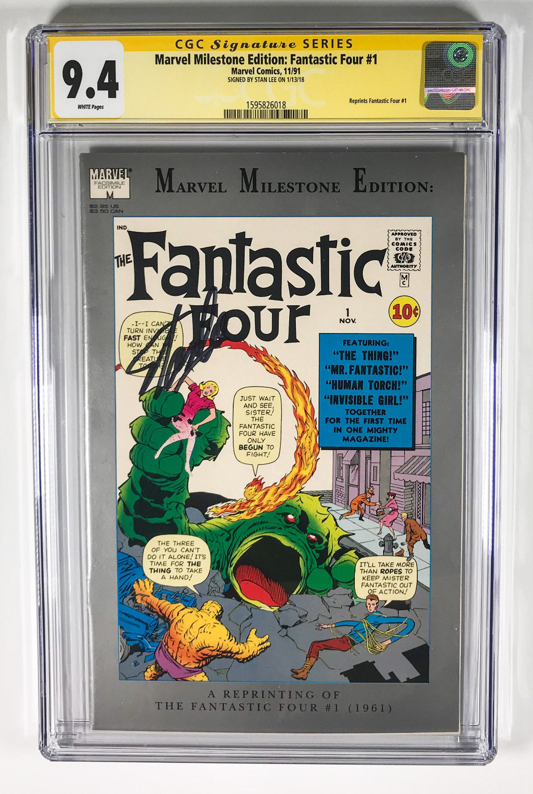 Marvel Milestone Edition Fantastic Four 1 CGC 9.4 signed by Stan Lee reprint key