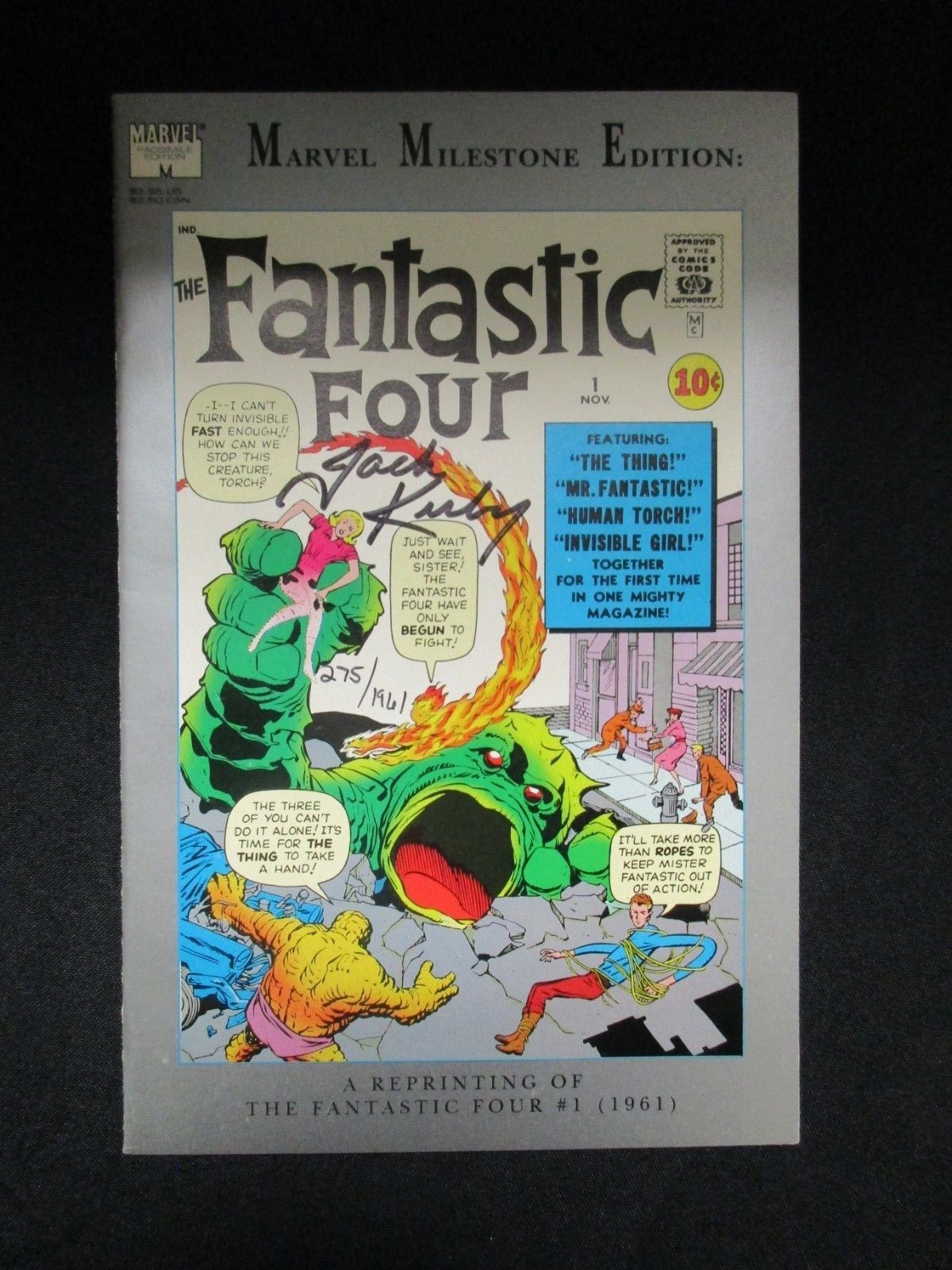 MARVEL MILESTONE FANTASTIC FOUR 1 * SIGNED BY JACK KIRBY W/ COA * # 275 OF 1961