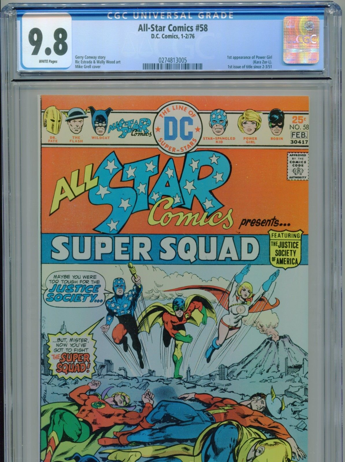 1976 DC ALL-STAR COMICS #58 1ST APPEARANCE POWER GIRL CGC 9.8 WHITE PAGES