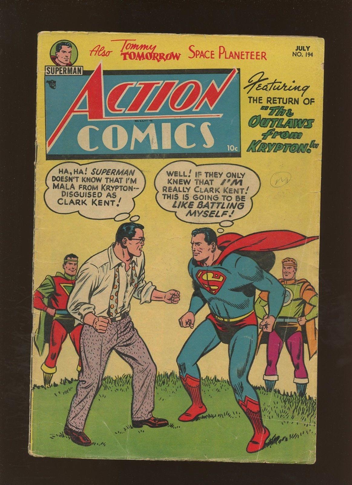 Action Comics 194 VG 4.0 * 1 Book Lot * Golden Age DC 1954 Superman & More