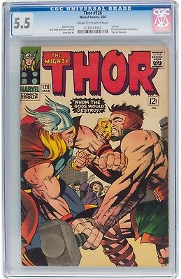 Thor #126 CGC 5.5 1966 1st Issue Avengers Iron Man Thor Hulk H9 225 cm clean
