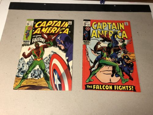 Silver age CAPTAIN AMERICA 117 118 Comic book FALCON 1st appearance Stan Lee