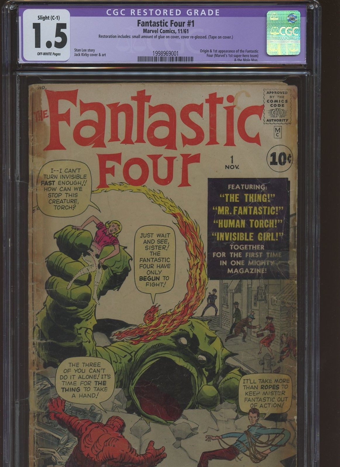 Fantastic Four 1 CGC 1.5 | Marvel 1961 | 1st Fantastic Four By Lee & Kirby