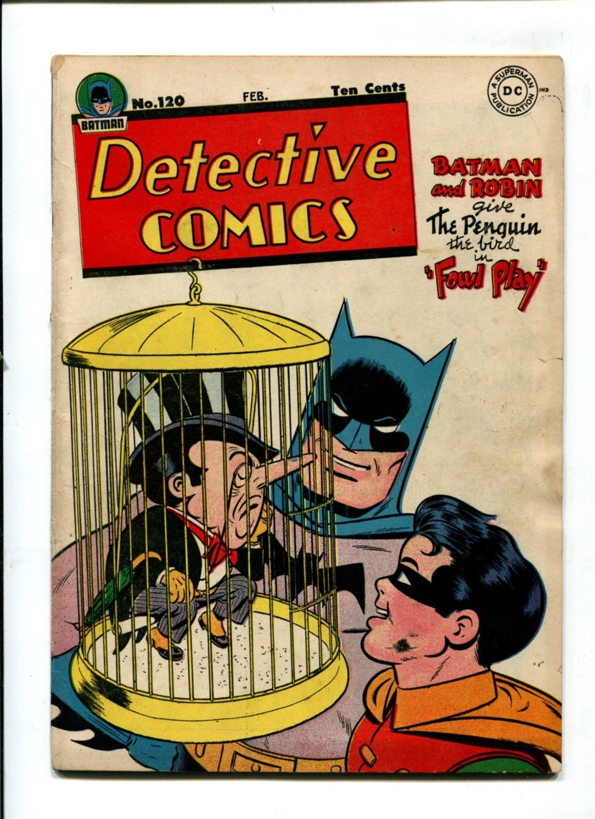 Detective Comics #120 FN+ 6.5 VINTAGE Batman DC Penguin Cover WHITE PAGES 10c