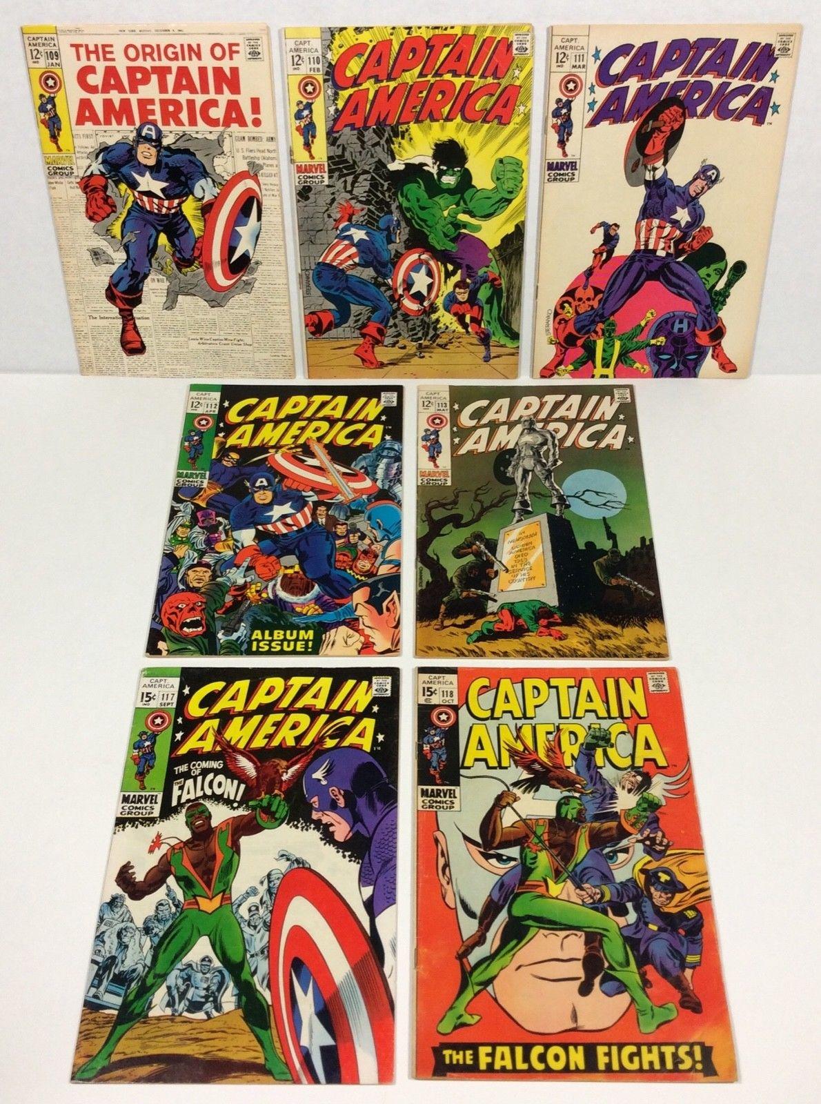 Captain America #109,110,111,112,113,117,118 KEY LOT (1st Falcon) 1969 Marvel