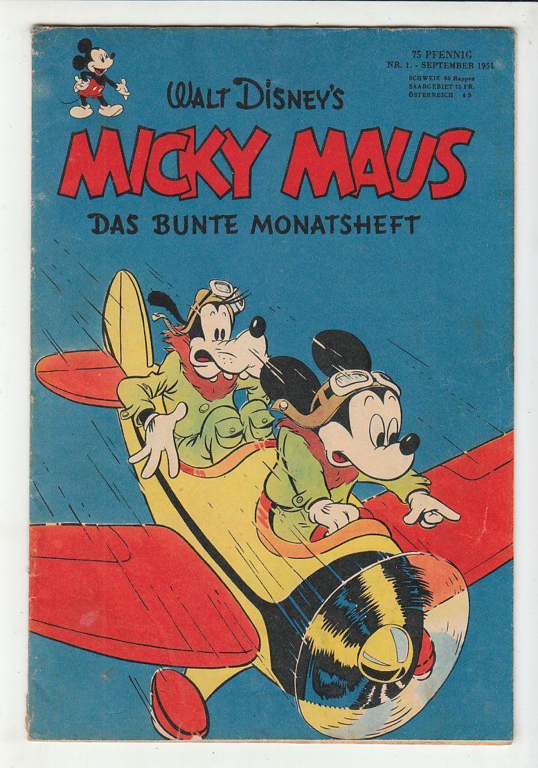 Micky Maus 1951 Nr. 1 altes Original Heft Ehapa Verlag im Zustand 2